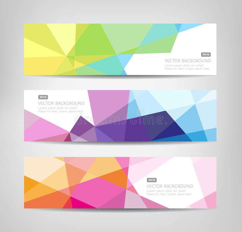 Abstract Banners With Geometric Shapes stock illustration