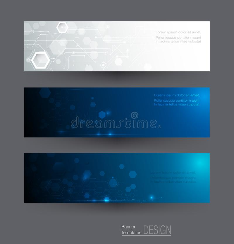 Abstract banners set, circuit board on hexagons background. Vector illustration, Abstract banners set of circuit board on hexagons background. Hi-tech digital vector illustration