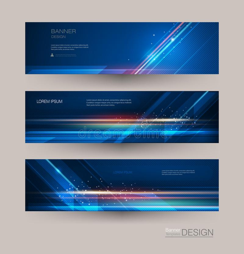 Abstract banners set with image of speed movement pattern and motion blur over dark blue color. Science, futuristic, energy technology concept. Vector royalty free illustration