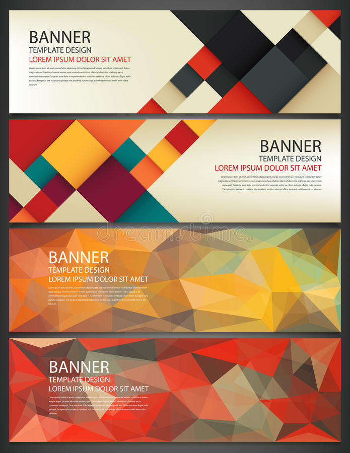 Abstract Banners set. Polygonal geometric and colorful squares. Background with different design elements. Vector royalty free illustration