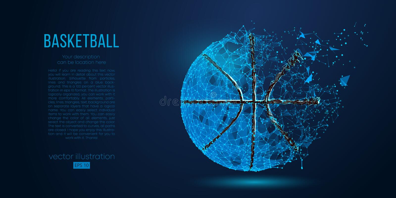 Abstract basketball ball from particles, lines and triangles on blue background. Vector illustration. Abstract basketball ball from particles, lines and stock illustration