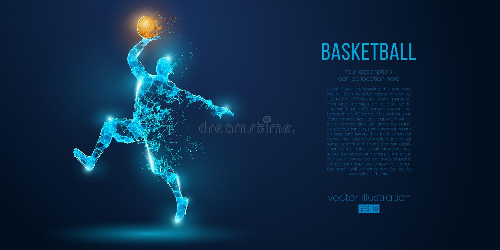 Abstract basketball player from particles, lines and triangles on blue background. Low poly neon wireframe outline stock illustration