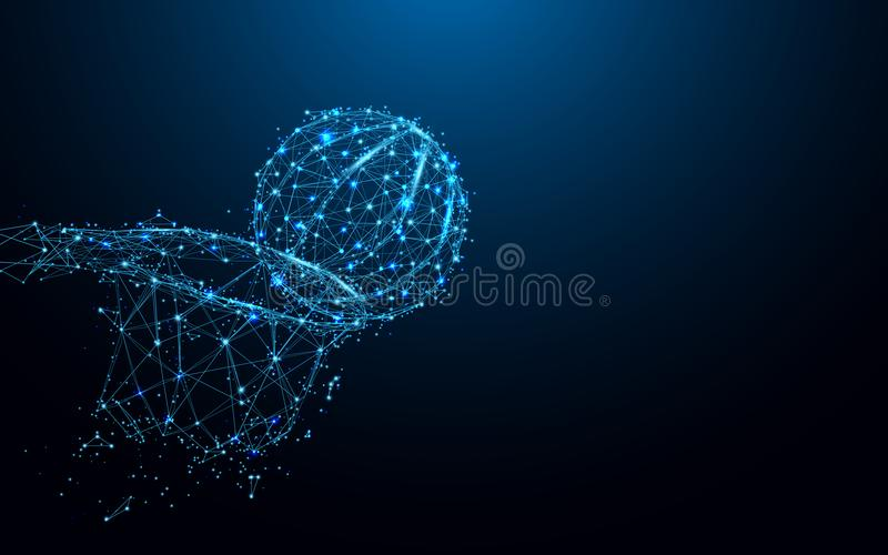 Abstract basketball slam dunk form lines and triangles, point connecting network on blue background vector illustration