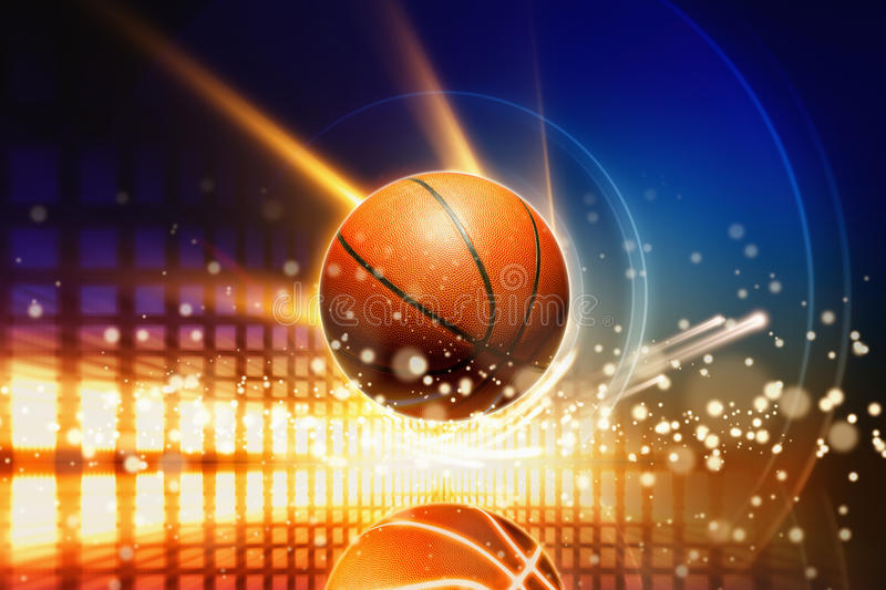 Abstract basketball. Abstract sports background - glowing basketball with reflection, glowing lights vector illustration