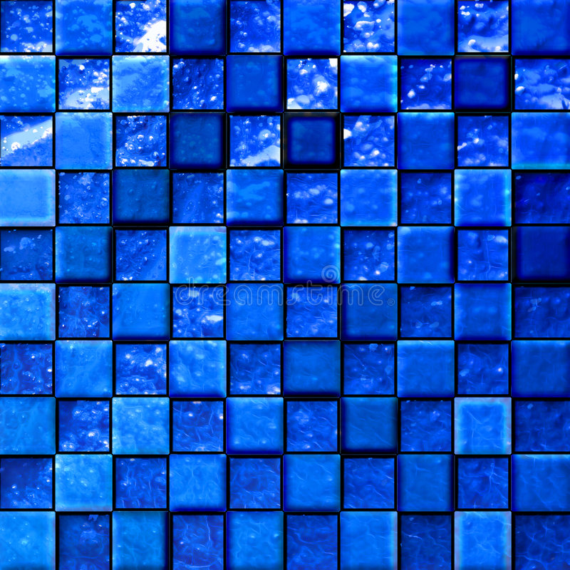 Abstract bathroom's tiles blue vector illustration
