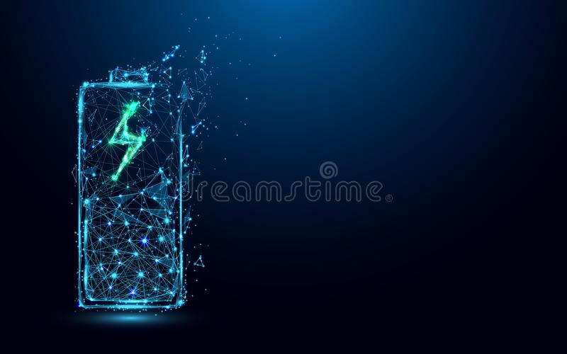Abstract Battery Charging Icon form lines and triangles, point connecting network on blue background. stock illustration