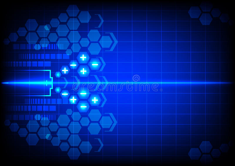 Abstract battery energy on blue color background vector illustration