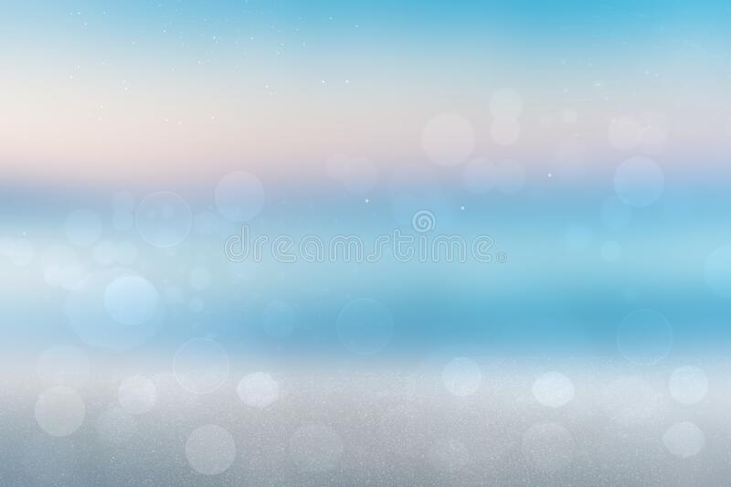 Abstract beach background. Abstract bright tropical sandy beach with blue sky and beautiful sunset clouds and with ocean. Backdrop. For summer holidays and royalty free stock photo