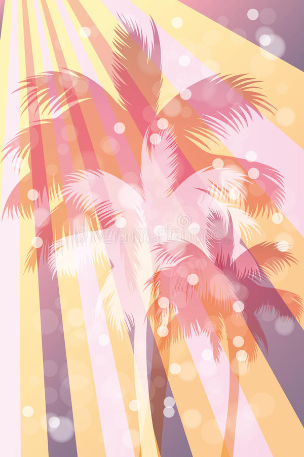 Abstract beach background. Abstract retro beach background with palms in rainbow colors - eps10 vector illustration stock illustration