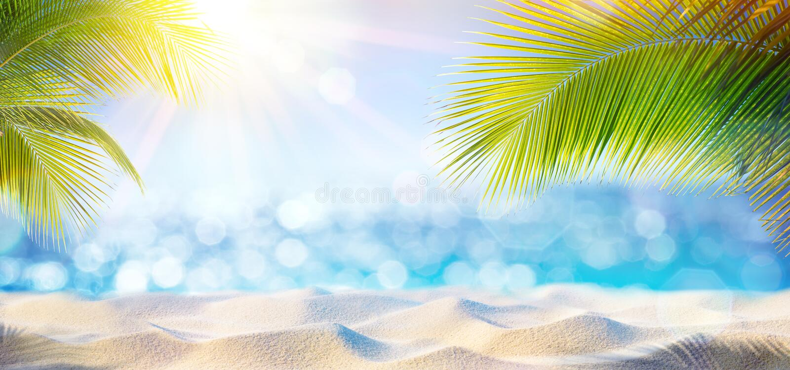 Abstract Beach Background - Sunny Sand And Shiny Sea. At Shadows Of Palm Tree stock image