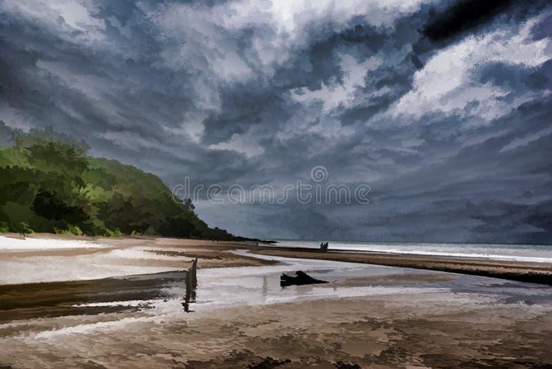 Abstract Beach Scene and Sky stock photo