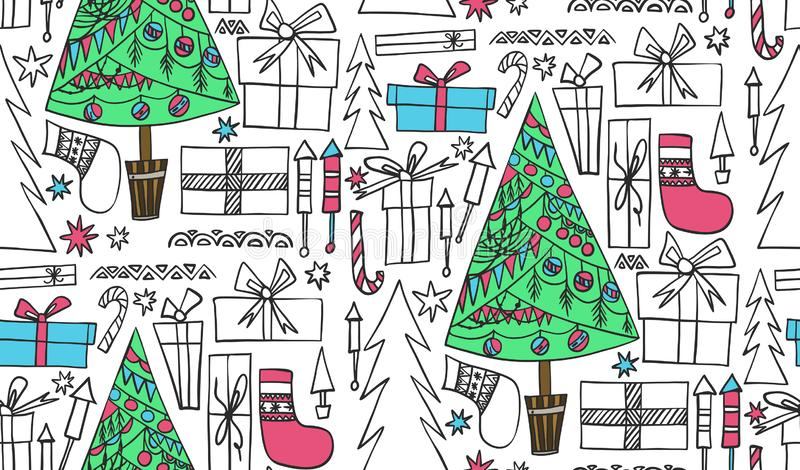 Abstract beautiful artistic graphic multicolor lovely holiday new year doodles pattern Christmas tree, presents, fireworks vector stock illustration