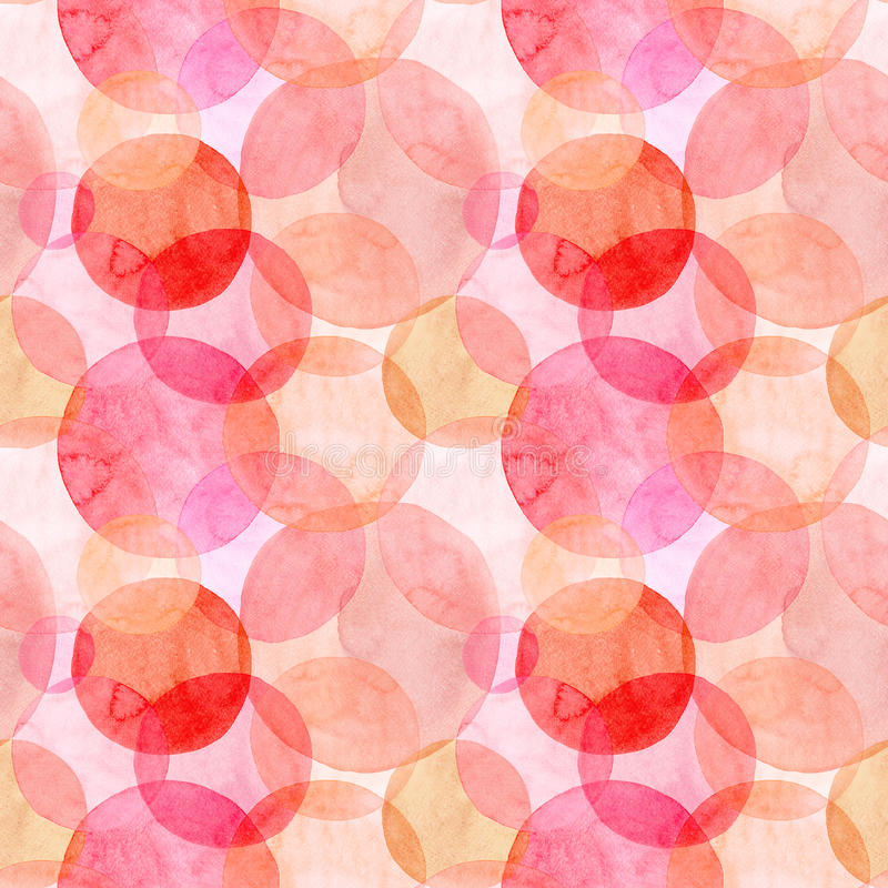 Abstract beautiful artistic tender wonderful transparent bright autumn orange pink red circles different shapes pattern watercolor royalty free illustration