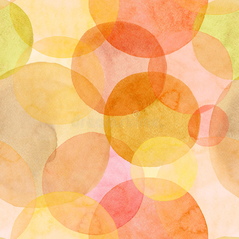 Abstract beautiful artistic tender wonderful transparent bright autumn orange yellow red circles different shapes pattern watercol royalty free illustration