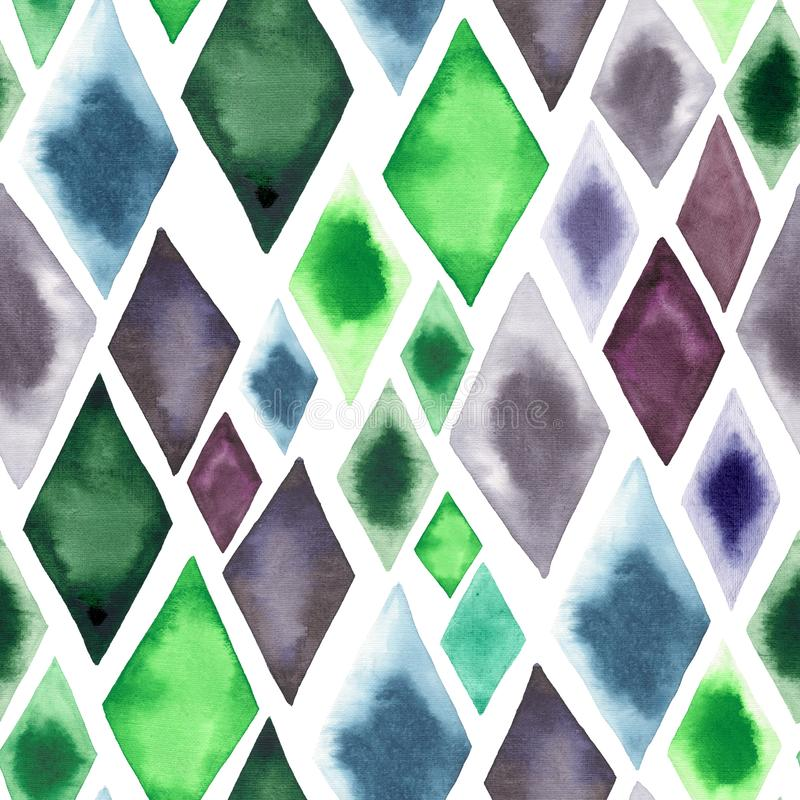 Abstract beautiful artistic tender wonderful transparent bright green blue purple rhombuses different shapes pattern watercolor ha. Nd illustration. Perfect for royalty free stock photos