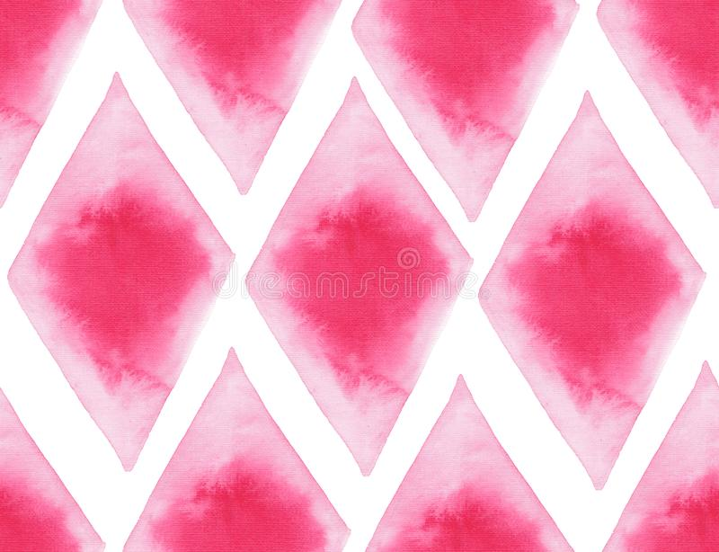 Abstract beautiful artistic tender wonderful transparent bright red pink different shapes pattern watercolor hand illustration. Perfect for textile, wallpapers royalty free illustration