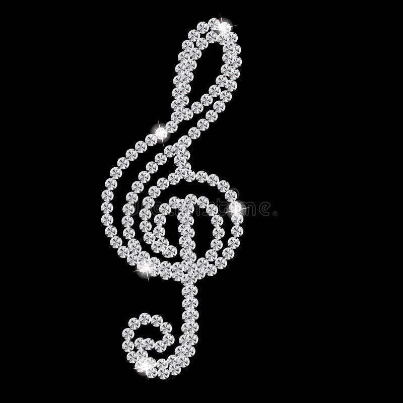 Abstract Beautiful Black Diamond Music Note Vector Royalty Free Stock Photo