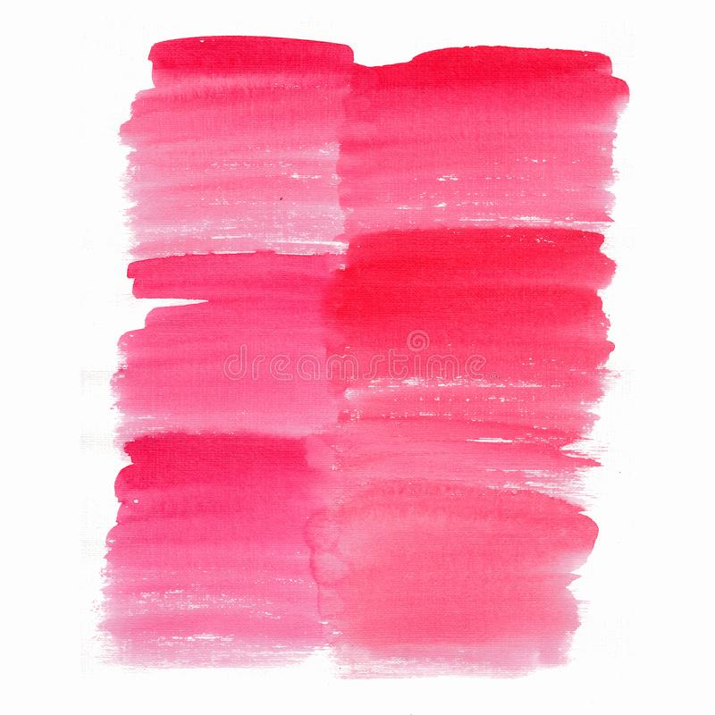 Abstract beautiful bright transparent beautiful textured summer red pink magenta spot blot background watercolor. Hand illustration. Perfect for textile royalty free stock photo