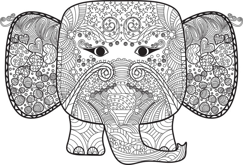 Abstract beautiful elephant with doodles for coloring book.,adult and kids royalty free stock photo