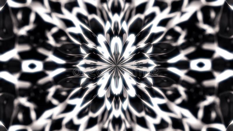 Abstract, beautiful monochrome figures sucked to the central point of animation, kaleidoscope motion background vector illustration