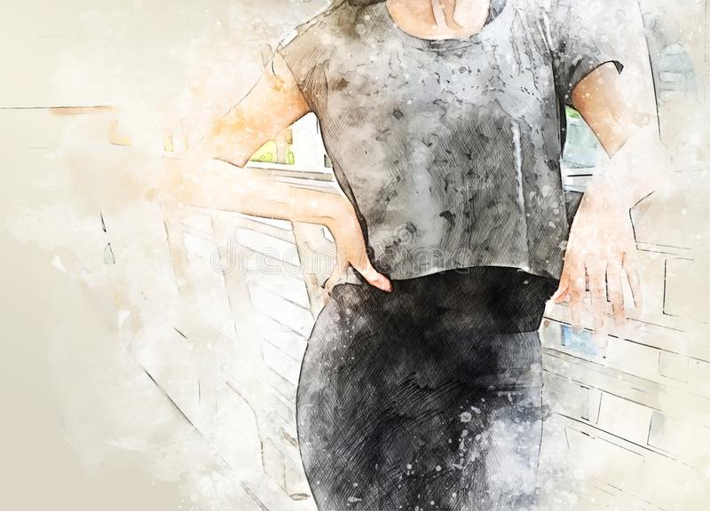 Abstract Beautiful sport girl relax on walking street in the city on watercolor illustration painting background. royalty free stock images