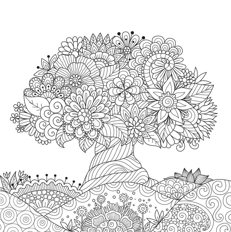 Download Abstract Beautiful Tree For Design Element And Adult Coloring Book Page Stock Vector