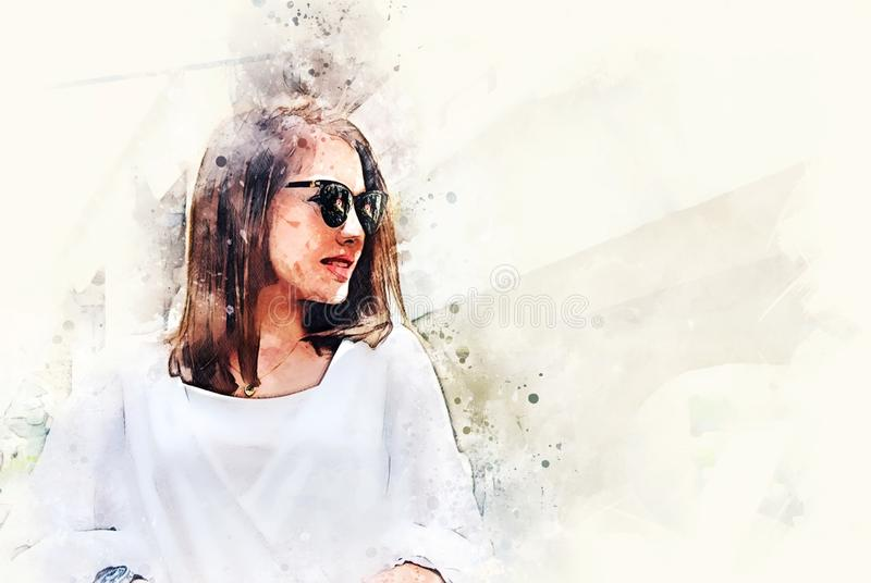 Abstract beautiful woman smile portrait traveling and walking street in the city on watercolor illustration painting. vector illustration