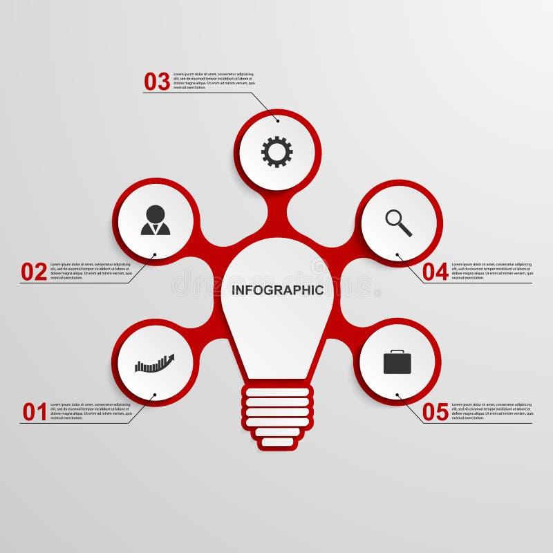 Abstract bedrijfsconcepten infographic malplaatje Lightbulbidee stock illustratie