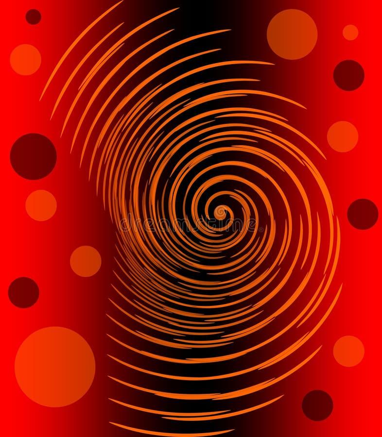 Abstract beeld met gloeiende oranje spiraal en cirkels op rode en zwarte gradiëntachtergrond, vurige helse emotie vector illustratie