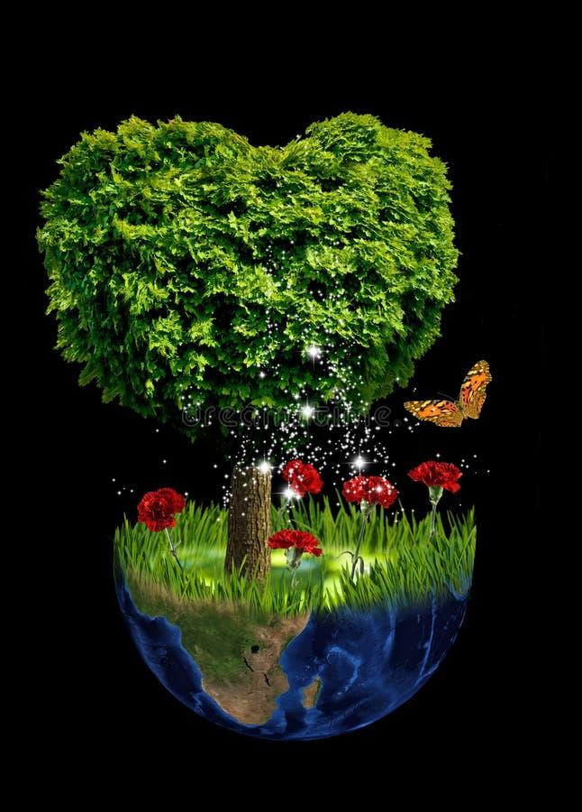 abstract beeld van een planeet en een boom in de vorm van een hart stock afbeelding
