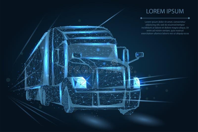 Abstract beeld van een Vrachtwagen die uit punten, lijnen, en vormen bestaan 3d zware vrachtwagenbestelwagen op Wegweg stock illustratie