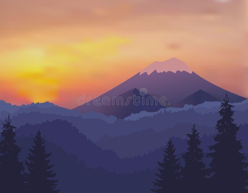 Abstract beeld van een zonsondergang, de dageraadzon over de bergen op de achtergrond en een dik bos neer aan de vallei binnen royalty-vrije illustratie