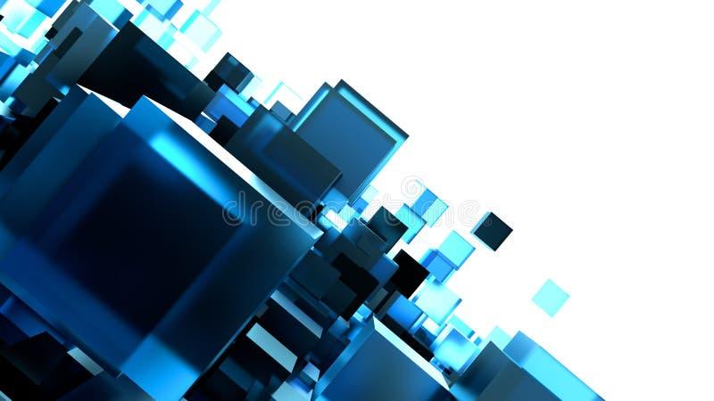 Abstract beeld van kubussenachtergrond in gestemd blauw stock illustratie