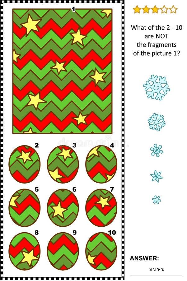 Abstract beeldraadsel - delen en het geheel - de wintervakantie vector illustratie