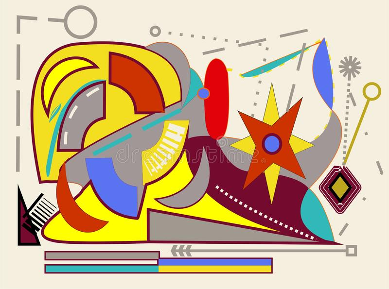 Abstract  beige background ,fancy  geometric and curved colorful shapes ,yellow, blue, red , gray -18-183. Colorful composition ,Abstract geometric and curved royalty free illustration