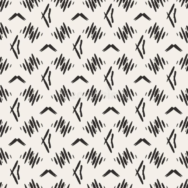 Abstract beige black home decor pattern with simple geometric print. Pastel bed linen tile.  Simple tribal desing for bed linen, royalty free illustration