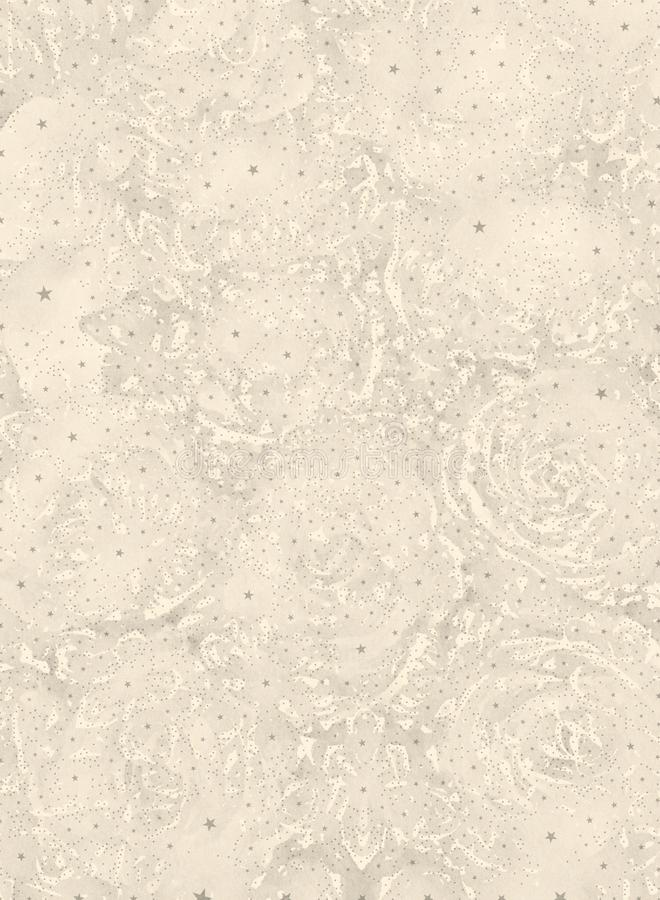 Abstract beige floral graphical background with stars royalty free illustration