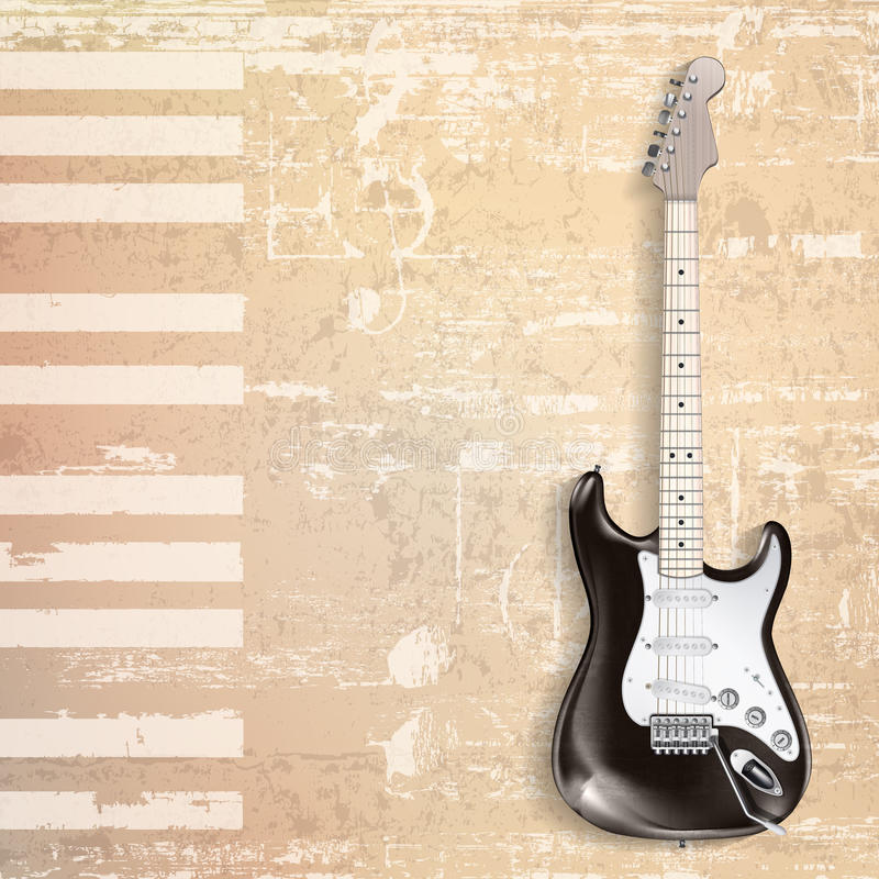 Abstract beige grunge piano background with electric guitar. Abstract beige grunge piano background with black electric guitar stock illustration