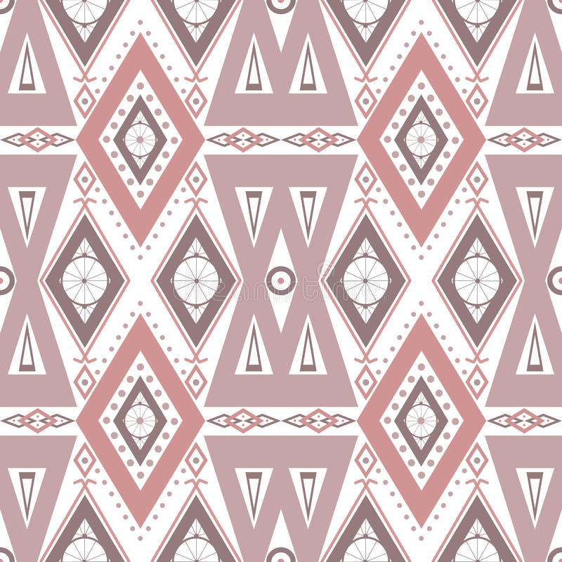 Abstract Beige Ornament Seamless Pattern On White Stock Illustration