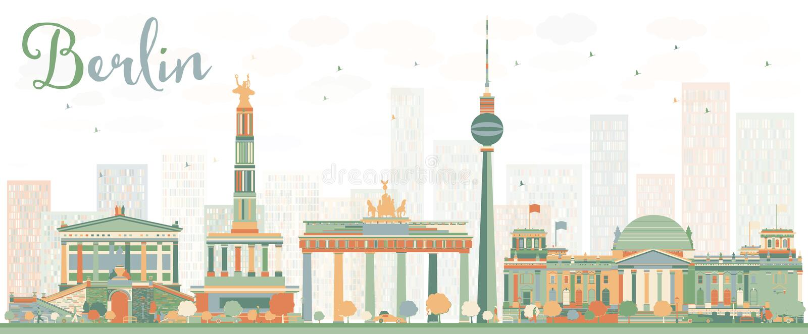 Abstract Berlin Skyline with Color Buildings. Vector Illustration. Business Travel and Tourism Concept with Historic Architecture. Image for Presentation vector illustration