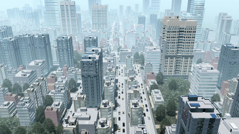 Abstract big city downtown aerial view. Aerial view of abstract big city downtown with modern high rise buildings skyscrapers at daytime. 3D illustration from my royalty free illustration