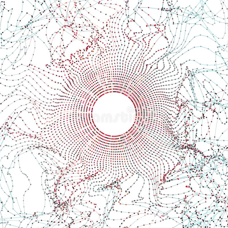 Abstract big data illustration. Particle circle grid glitch and wave. Digital bigdata background stock illustration