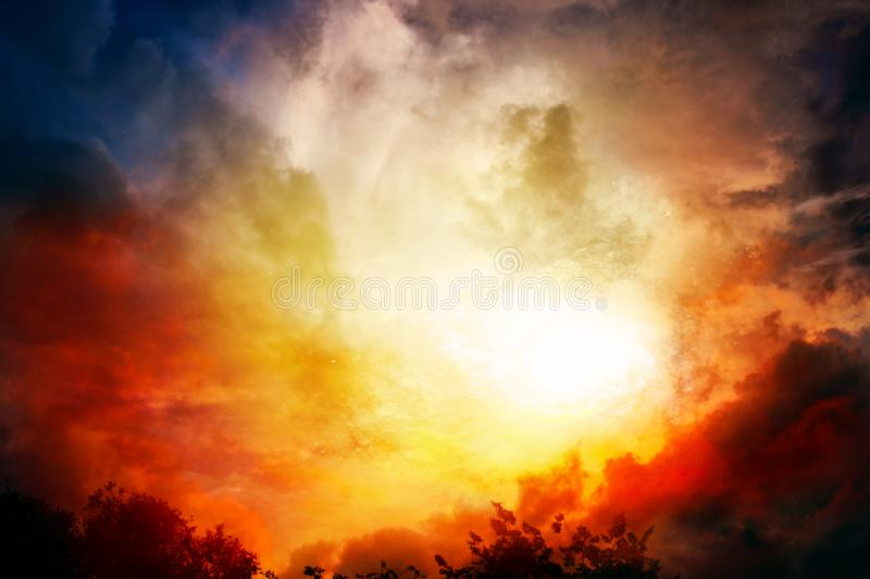 Light from sky . Religion background . Abstract big explosion .Colorful sunset . Colorful Clouds With Lens Flare . Beautiful heavenly landscape with the sun in royalty free stock photos