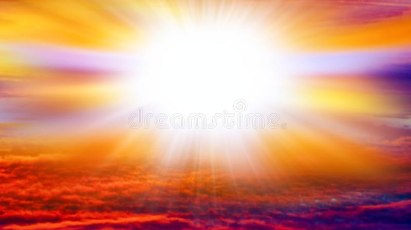 Abstract big explosion . Light from sky . Religion background . beautiful cloud . background sky at sunset and dawn . stock photography