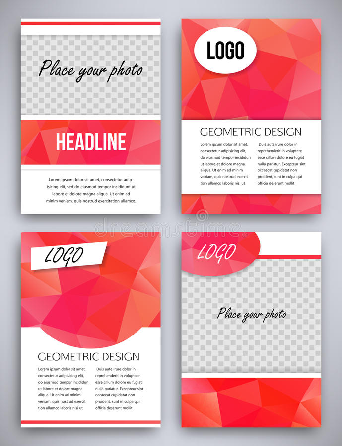 Abstract big set of red triangular geometric design brochure and flyer template, vector illustration royalty free illustration
