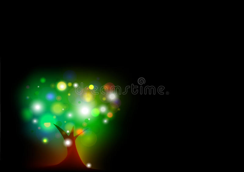 Abstract Big Tree with glowing fireflies in the black background royalty free stock photo