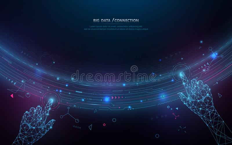 Abstract bigdata coding science background. Circle geometric particle. Hands touching big data stream and connection futuristic royalty free illustration