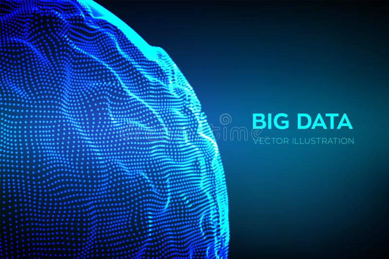 Abstract bigdata science background. Sphere grid wave. Big data innovation technology. Blockchain network analysis. Ai tech stock illustration