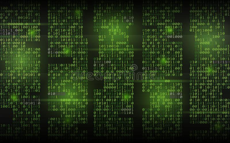 Abstract binary background. Green streaming code. Columns with digits on dark backdrop. Hacked screen concept. Trendy royalty free illustration