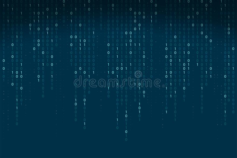 Abstract binary code background. Falling, streaming binary code background. vector illustration